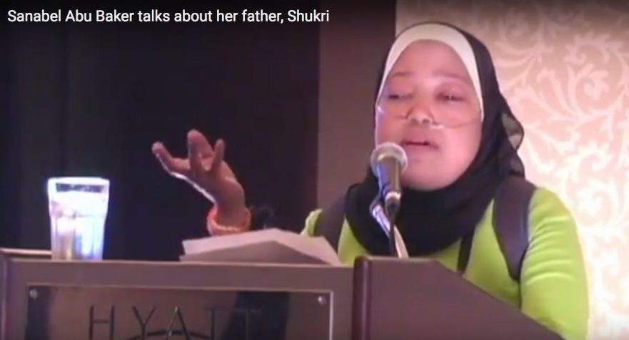 Sanebl Abu-Baker speaks to her father