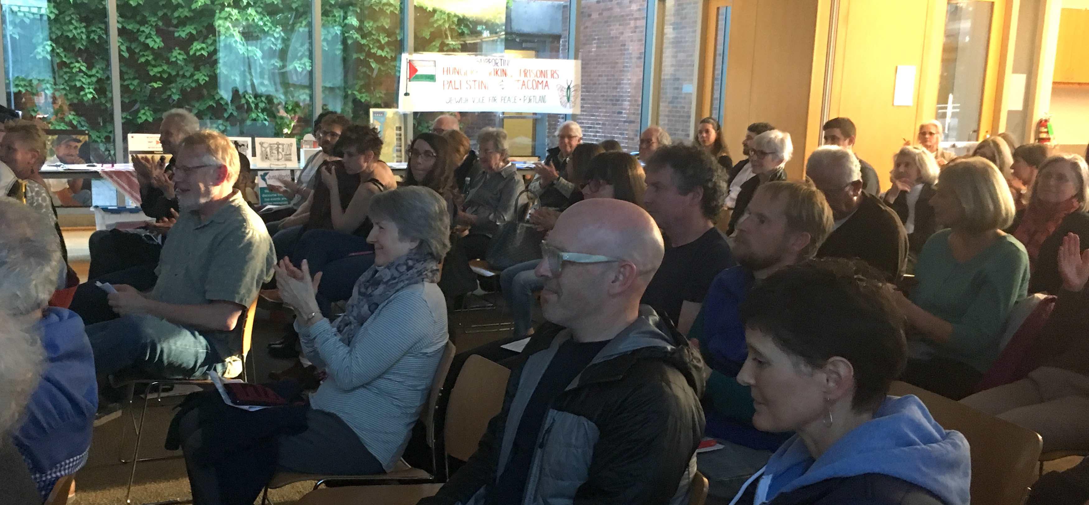 Sabaaneh, rapt audience in Portland, banner, sm
