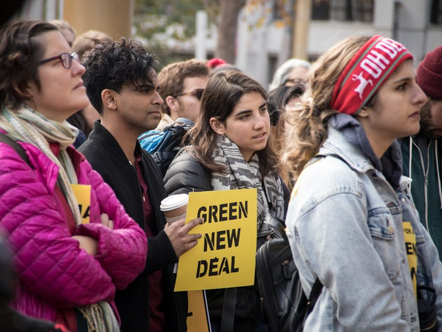 Hundreds gather in San Francisco with the youth-led Sunrise Movement to call on House Democratic Leader Nancy Pelosi to support the formation of a Select Committee to advance a Green New Deal to address climate change. (Photo by Peg Hunter/CC BY-NC 2.0)